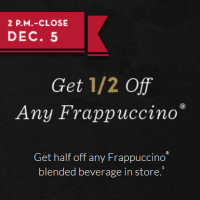 Starbucks: 1/2 off Any Frappuccino 2pm – Close with App/Card (12/5 only)