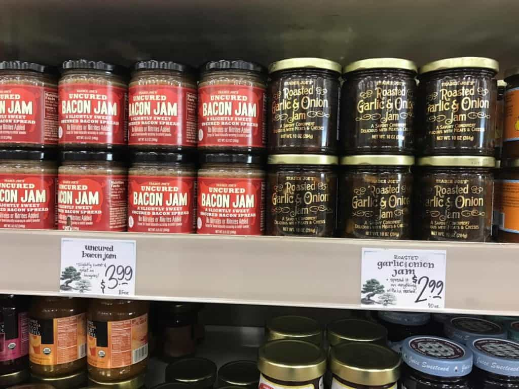 Bacon Jam and Roasted Garlic & Onion Jam at Trader Joes