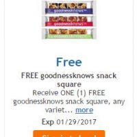 Fred Meyer/QFC/Kroger: FREE goodnessknows Snack Squares
