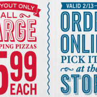 Domino's Pizza: Large 2-Topping Pizza $5.99 (Carryout Only)