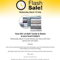 Fred Meyer Flash Sale: 60% off Bath Towels & Sheets (3/15 only)