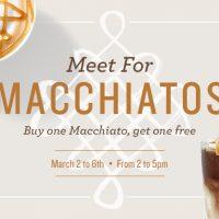 Starbucks: BOGO Macchiatos – March 2nd-6th from 2-5pm