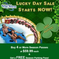 Wild Waves: FREE Season Parking Pass ($50 value) when you buy 4 Season Passes ($59.99 each)