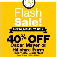 Fred Meyer/QFC Flash Sale: 40% off Oscar Mayer & Hillshire Farms Mega Tub Lunchmeat (3/24)
