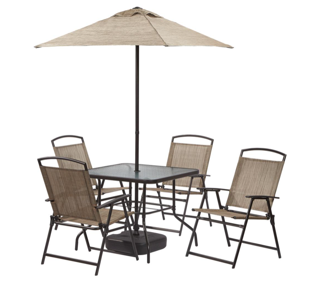 Home depot 7 piece patio set with umbrella for 99 for Sillas para jardin home depot