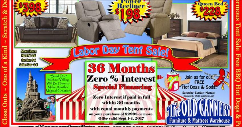 the old cannery huge labor day sale 9 1 9 4. Black Bedroom Furniture Sets. Home Design Ideas