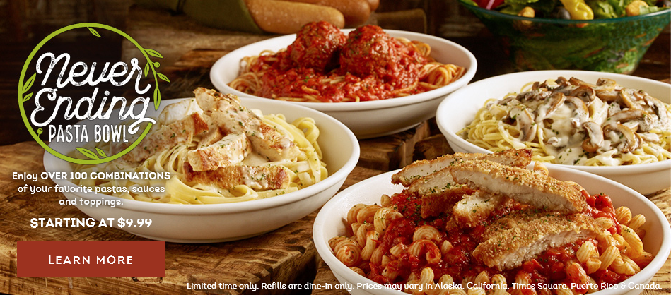 All The Pasta You Can Eat With Olive Garden S Never Ending: Olive Garden: Never-Ending Pasta Bowl, $9.99