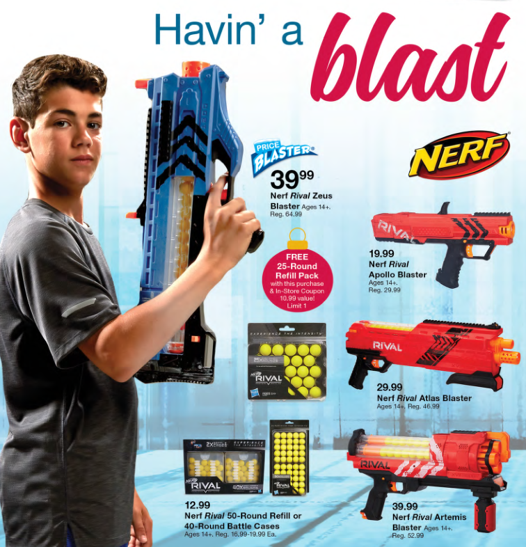 My kids always enjoy playing with Nerf guns, and this week, you'll find  them on sale! My pick: the Nerf Rival Zeus Blaster. It's on PriceBlaster  promotion ...