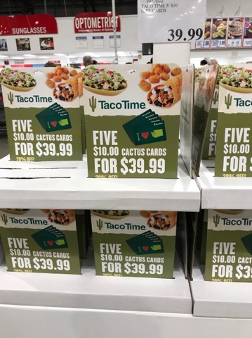 Taco Time Gift Cards at Costco