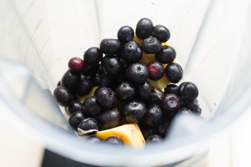 Making Blueberry Orange Smoothie Kits in the Blender