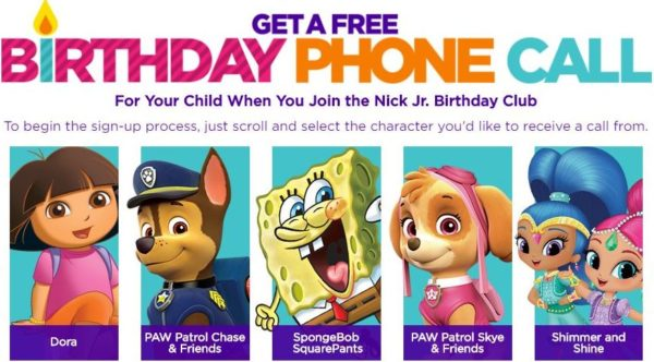 FREE Birthday Phone Call from a Nick Jr. Character (Dora, Chase or ...