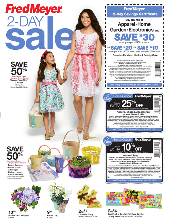 20eb23845e2d Heads up! Fred Meyer is having a special 2-day sale starting tomorrow  (Friday, March 30th) and running through Saturday, March 31st. Just in time  for Easter ...