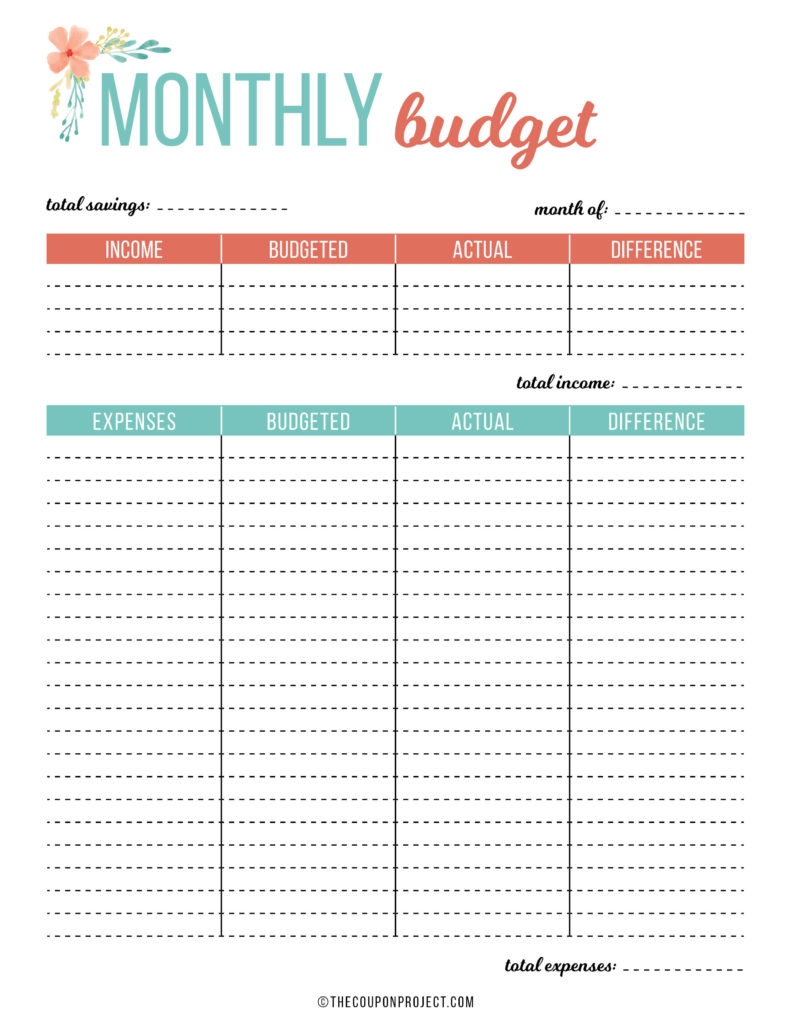 Free Budget and Financial Planning Printables - The Coupon ...