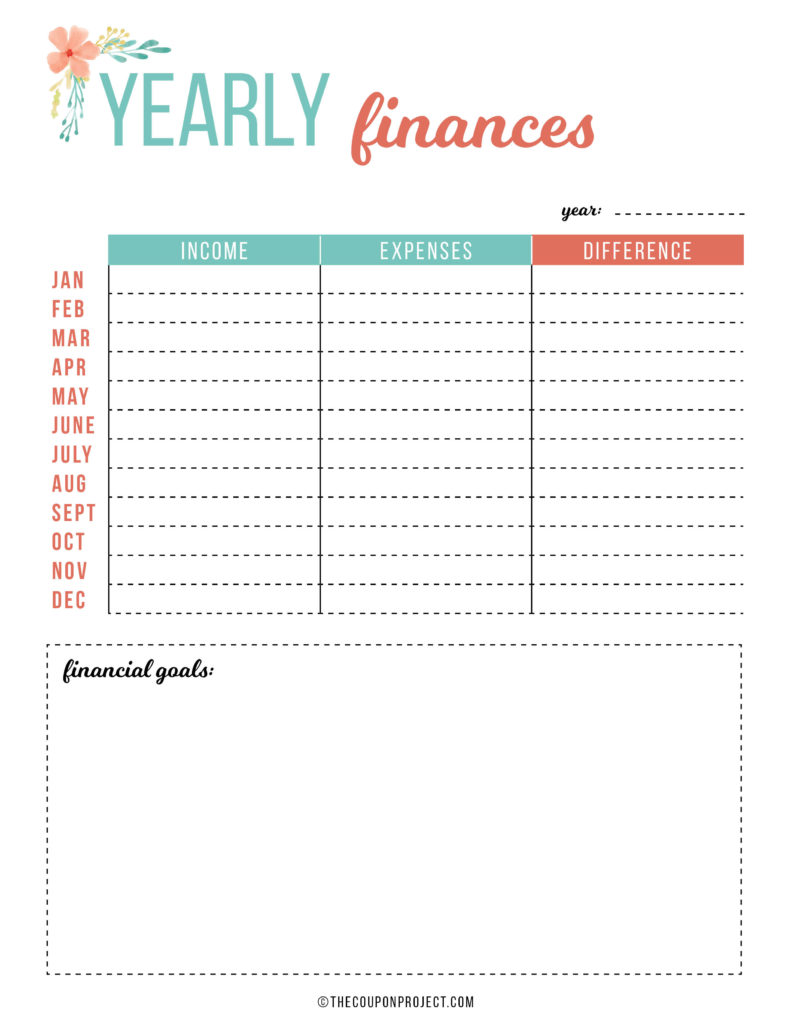 Yearly Finances - Free Financial Planning Printable