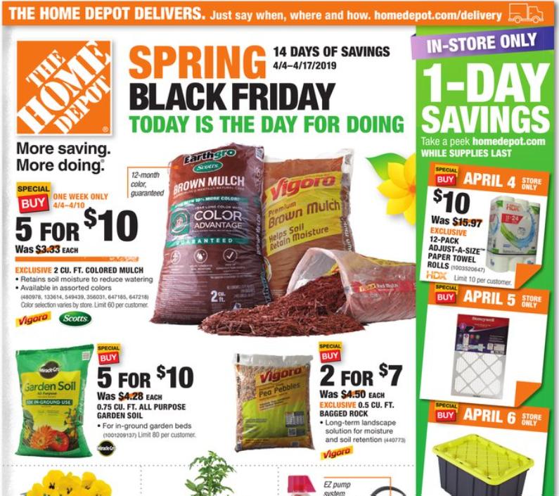 Home Depot Spring Black Friday Hot Deals On Mulch Garden Soil