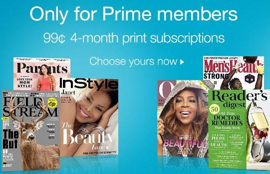 Amazon Prime: 4-Month Magazine Subscriptions for $0 99