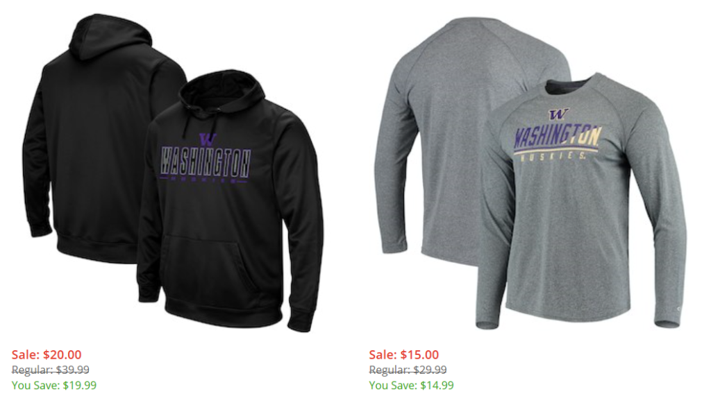084bc29c1d9 50% off Select UW Gear – Sweatshirts, Shirts, Pants and More The coupon  code excludes these items
