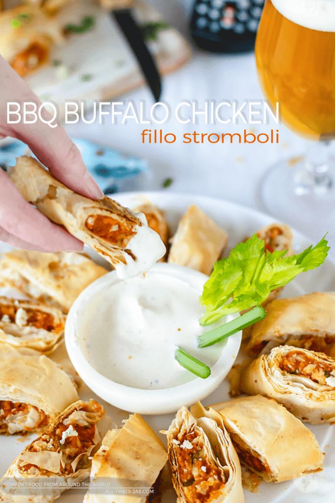 BBQ Buffalo Chicken Fillo Stromboli