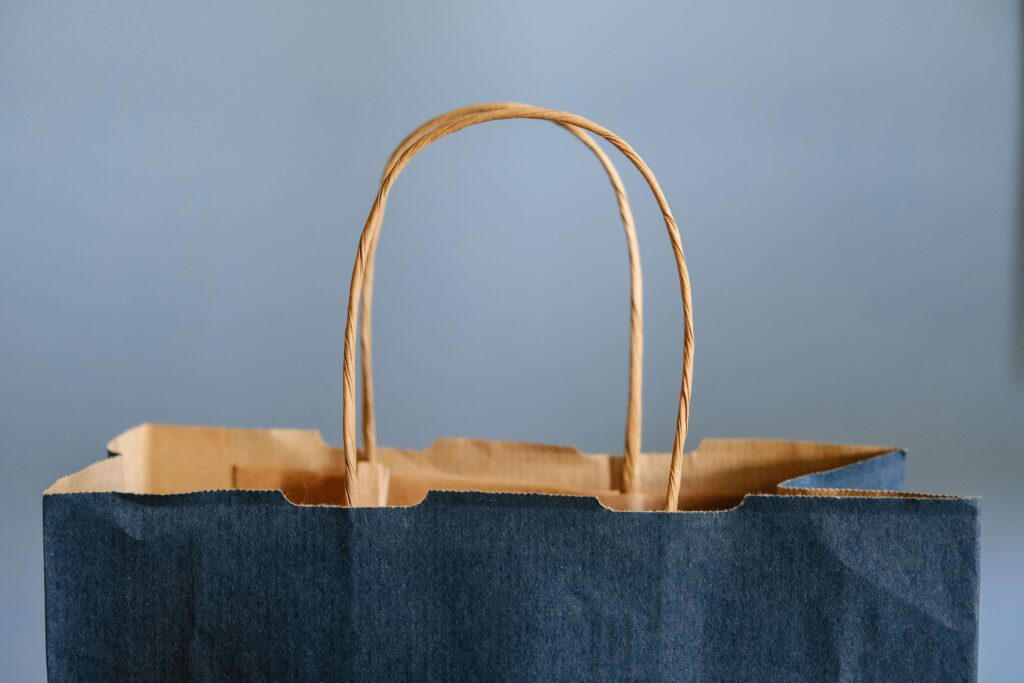 open paper shopping bag with handles