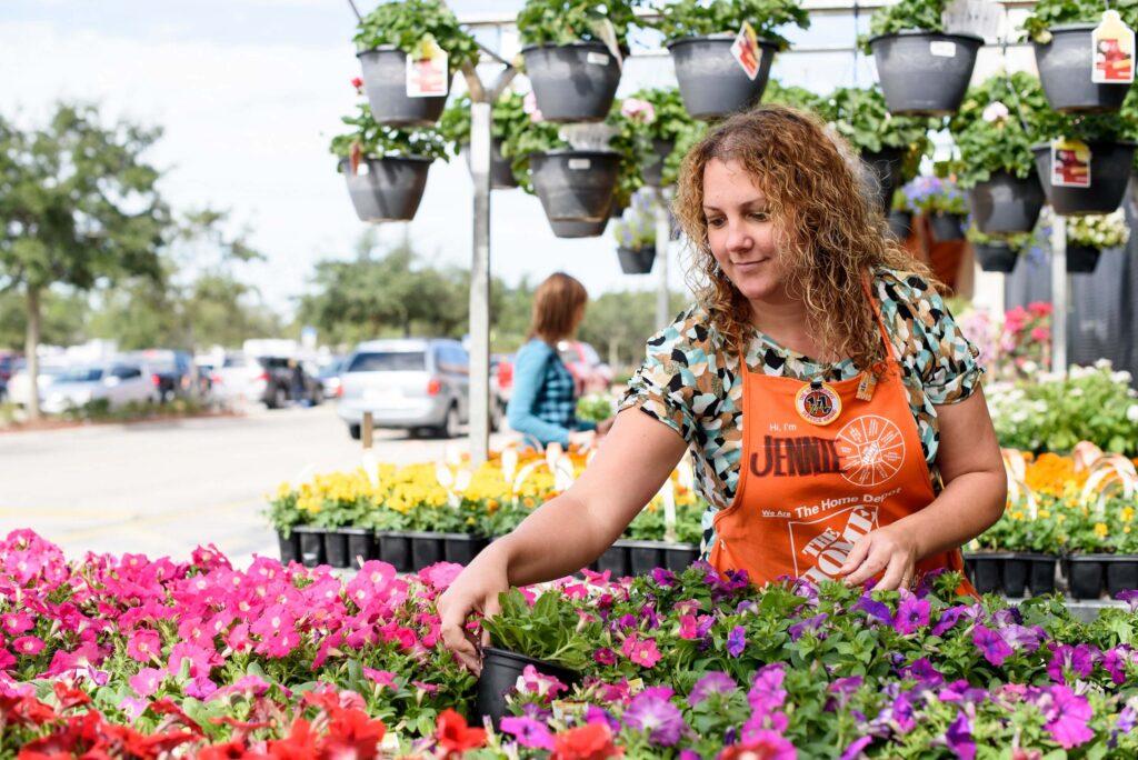 Home Depot employee at garden center - Home Depot coupons